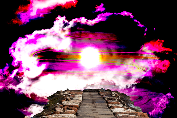 stone path going to sun light in the sky