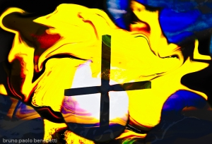 rising light behind a cross on waving yellow sky