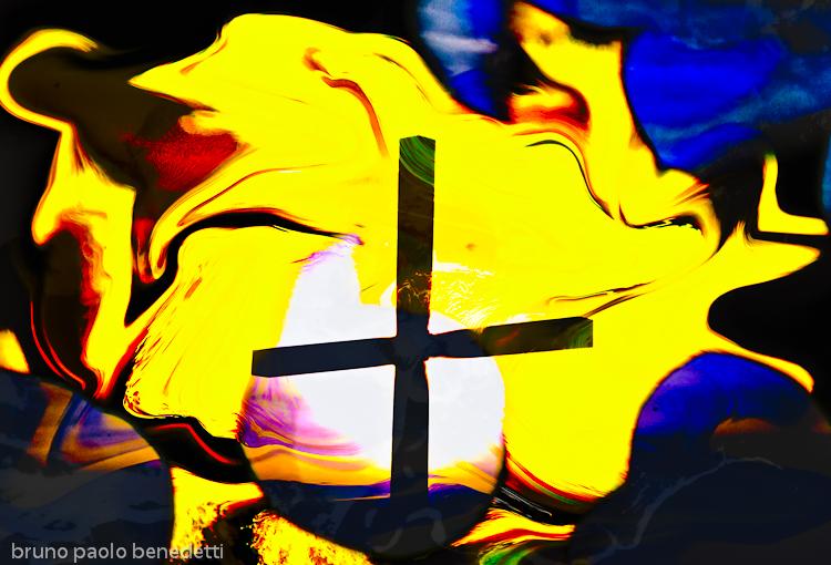 rising light behind a cross on waving yellow sky