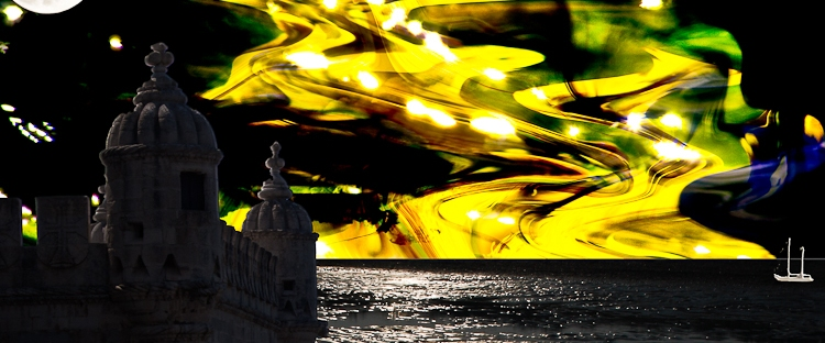 shining night surrealistic landscape with tower,sea,moon and lights in yellow sky