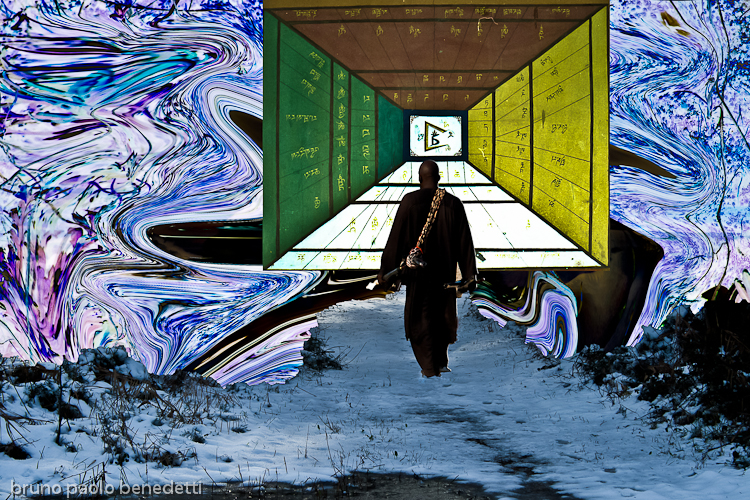 enlightenment representation with walking men and corridor in the sky