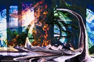 fire flame burns surreal clock gear