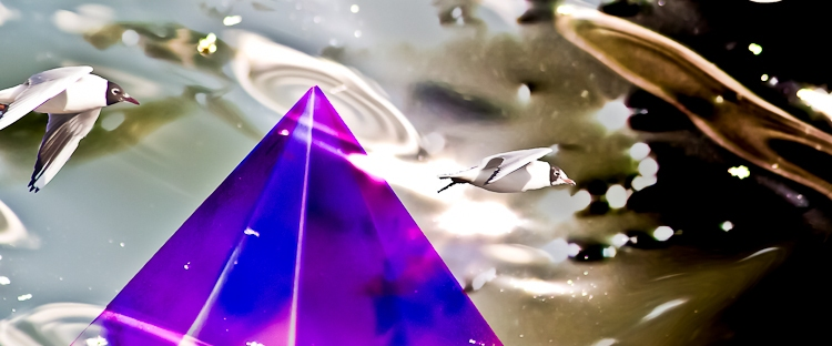 incoming light with pyramid and seagulls on dark background