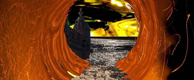 stone bridge takes to a vortex in fire storm with dream landscape beyond