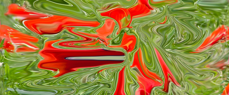 abstract fluid red floating shapes on green background