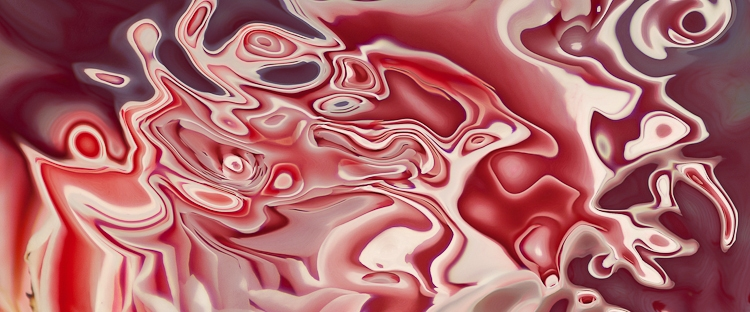 fluid shape in red and white with many shades and white tones,