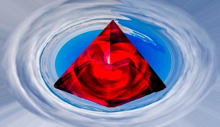 red crystal pyramid in the sky alchemy symbolism