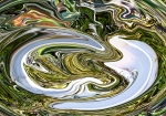 two abstract fluid curved white shapes on brilliant green shades fluid background