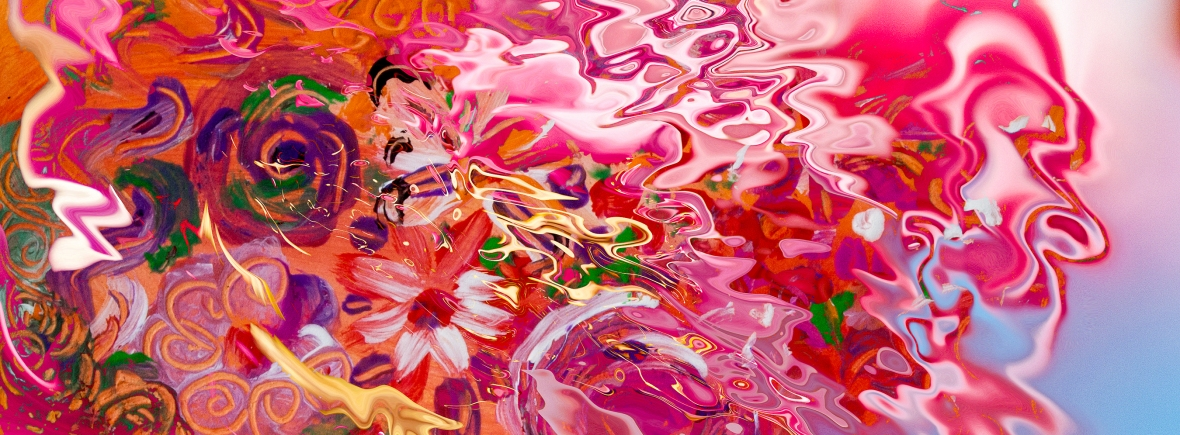 abstract floral suggestion liquid image with flowers and fluid shapes on blurred background photography painting art