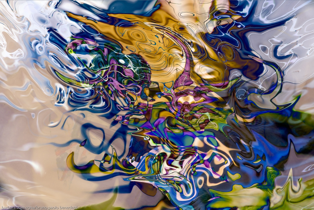 liquid objects abstraction: colorful fuid image with dissolving shapes photography painting fusion art