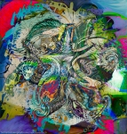 mottled multicolored abstract composition image with detailed objects and shapes pp fusion art