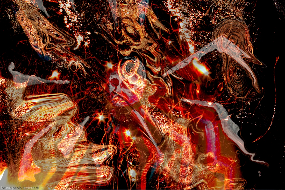 swirling fire universe: fire flame swirls and concentric shapes and central head on black background photography painting art