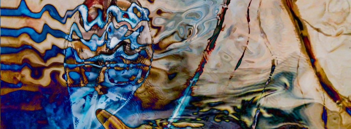 water dream abstraction image with fluid shapes, lines, waves and colors in blue and light brown tones fusion art