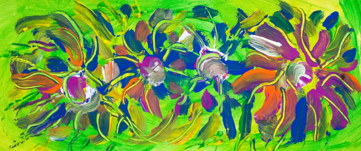 Abstract Multicolored Flowers on Green Bacgkround