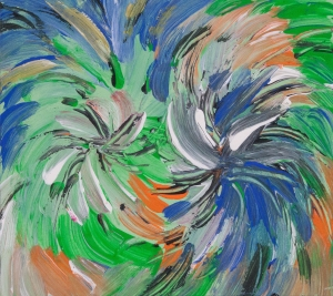 Fluid abstract dynamic image with energetic vortex movements in tones of orange, green, blue, black and white colors