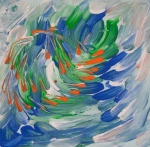 Fluid abstract image with moving orange whirling elements on mottled dynamic background in tones of orange, green, blue and white colors.