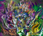 thorny flower abstract art: multicolored image with fluid forms and spiny central figure