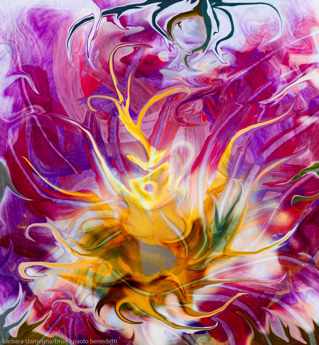 yellow fluid abstract flower: multicolored image with central yellow abstract fluid flower