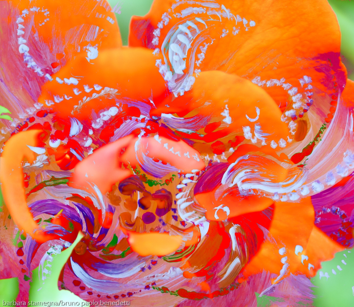 floral swirling dynamic abstract image with moving shapes in