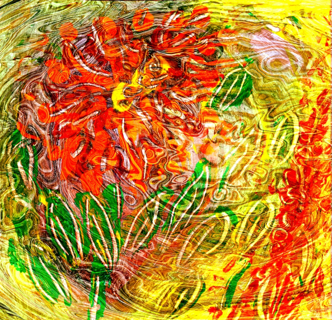 orange flower energy like abstract art image with green leaf shapes on mottled yellow background
