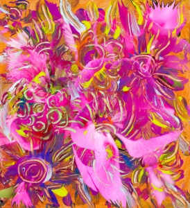 Floral pattern mottled abstract art image with flower like shapes in dominant pink and orange tones