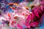 floral composition abstraction multicolored image with flowers and blossoms like shapes with shades