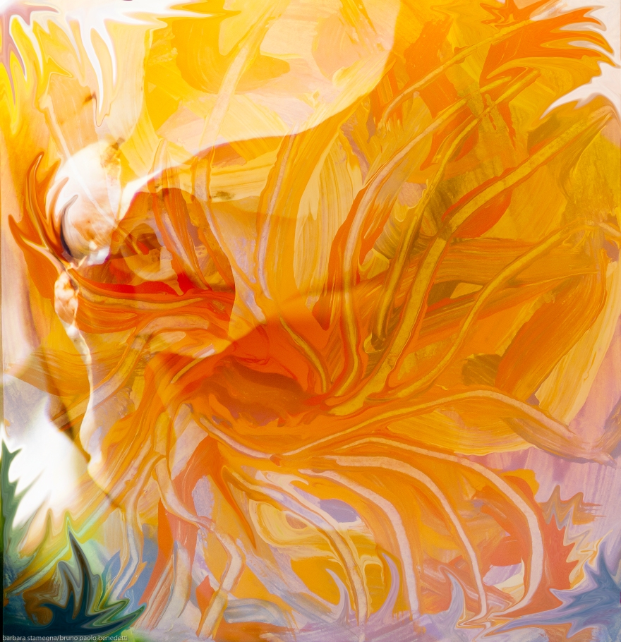 orange dreamy flower like abstract fusion art image in dominant orange color and yellow shades with fluid abstract shapes