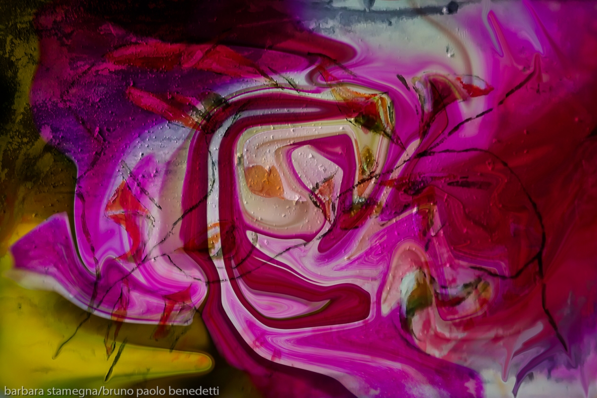 swirling pink image with abstract shapes in dominant fuchsia color
