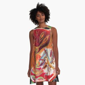 a-line dress with dominant red tones abstract art image design