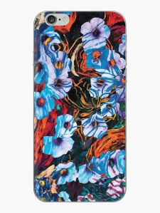 phone skin with floral mottled indigo abstract design