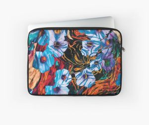device skin with floral mottled indigo abstract design applied on