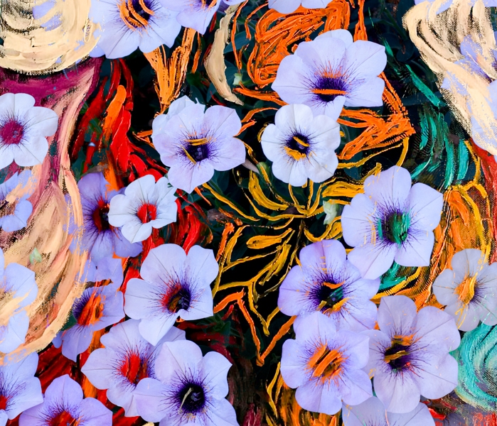abstraction of floating ethereal indigo flowers like art image on multicolored mottled background