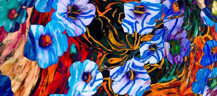 floral mottled indigo abstract art image with flower shapes on mottled background