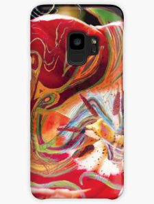 phone skin with with dominant red tones abstract art image design
