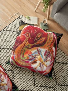 floor pillow with dominant red tones abstract art image design