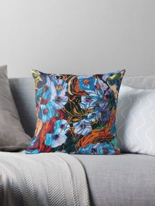 throw pillow with floral mottled indigo abstract design applied