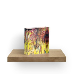 acrilyc block with revealing fire abstract bright colors art image with yellow flames like shapes on multicolored background