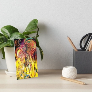 artboard with revealing fire abstract bright colors art image with yellow flames like shapes on multicolored background
