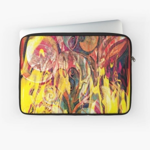 laptop sleeves with revealing fire abstract bright colors art image with yellow flames like shapes on multicolored background