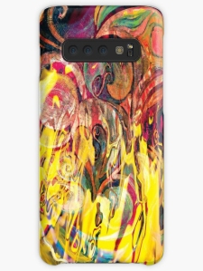 phone skin with revealing fire abstract bright colors art image with yellow flames like shapes on multicolored background