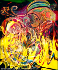 revealing fire abstract bright colors art image with yellow flames like shapes on multicolored background