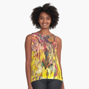 contrasted tank withrevealing fire abstract bright colors art image with yellow flames like shapes on multicolored background