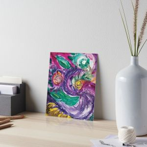 art board with purple tones mottled abstract art image with swirls and rounded circular shapes in green,white fuchsia,purple and yellow colors