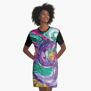 t shirt with purple tones mottled abstract art image with swirls and rounded circular shapes in green,white fuchsia,purple and yellow colors