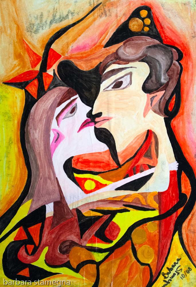 Abstract image a facing woman and man heads central figure in the act of wanting to kiss, with abstract round and bended shapes and geometric forms.