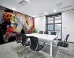 mural home decor with abstract pattern in red and white color with shades on meeting room wall