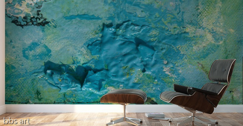 abstract blue sea sink hole with green,yellow and white streaks, adhesive mural print on a studio wall