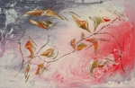 Abstract painting evoking a tiepid fall with yellow, green, white, red, orange, brownish leaf and flowers like shapes and branches and lines on pink, white, gray, red, enamel rough texture background, with nuances and shades