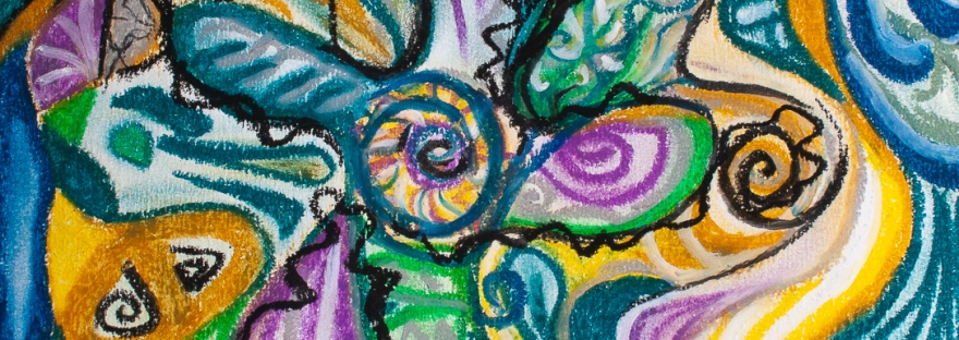 multicolored curved shapes and bended lines abstract image composition in tones of blue,yellow,green,white,purple and black. 24X33 cm oil pastels on carboard.The artwork may have multiple intrepretations according to the viewer's perspective and experience of life,so that the viewer becomes himself/herself the artist.