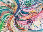 abstract concentric nature creation in tones of pink,blue,green,orange,black and white with curls and shapes of nature